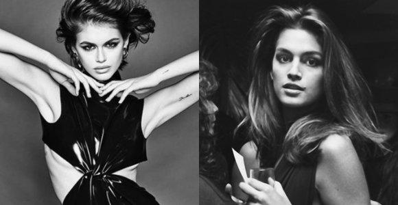 Lyg dvynės modeliai Cindy Crawford ir Kaia Gerber: kuri yra kuri?