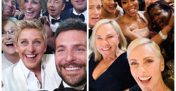 "Charlize Theron siekia pakartoti Ellen DeGeneres rekordą: pasidalijo tradicine ""Oskarų"" asmenuke"