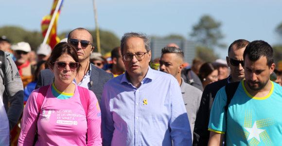 Katalonų lyderis Q.Torra prisijungė prie separatistų eisenos