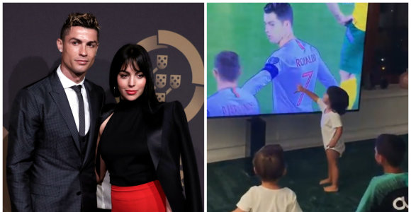 Cristiano Ronaldo rungtynes mylimoji Georgina stebėjo namie: tėtį aistringai palaikė ir 4 vaikai