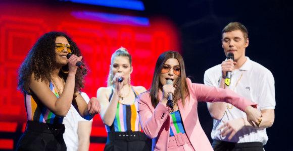 """Kova dėl """"Eurovizijos"""" pusfinalio: lyderiai – K.Juodzevičiūtė ir J.Brūzga, tarp iškritusių – V.Bareikis"""