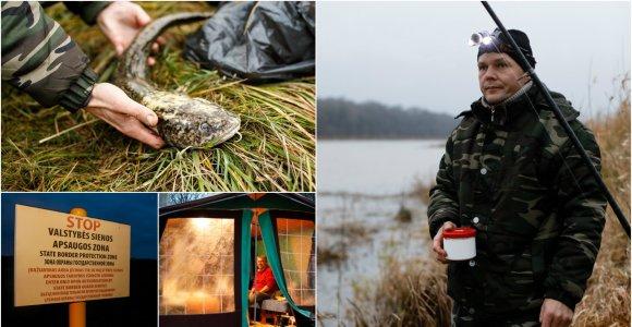 Nemuno pakrantes nugulė žvejai: naktinei vėgėlių žvejybai įsirengia net krosnimi kūrenamas palapines, kuriose – lovos