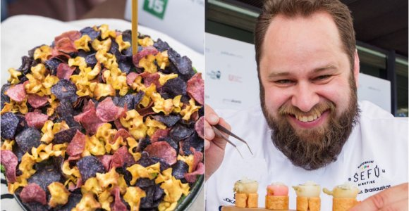 """""""100 tortų Lietuvai"""": šefo Artūro Braslausko juodos duonos ir Matjes silkės tortas"""