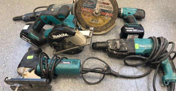 Pas užpuoliką - vogtų statybos įrankių rinkiniai