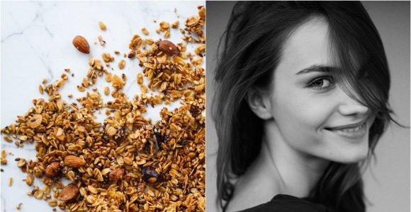 """""""KitchenJulie"""" receptas: paruoštukas pusryčiams – daigintų grikių granola su abrikosais ir riešutais"""