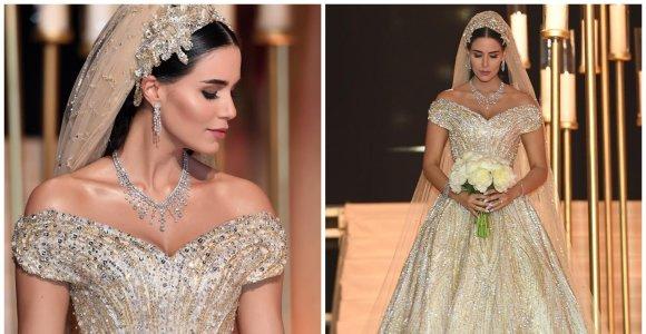 """Pasaka virtusios libanietės vestuvės: akį traukė """"Swarovski"""" kristalais puoštas 39 metrų nuometas"""
