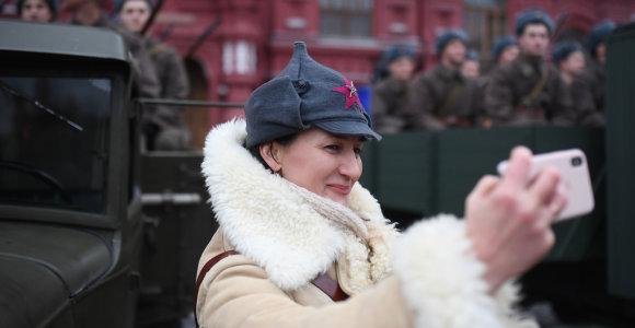 Maskvos Raudonojoje aikštėje surengta 1941-ųjų karinio parado reinscenizacija