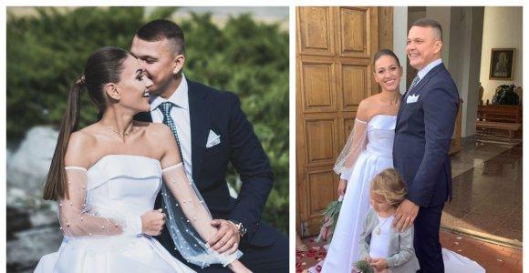 """""""Mokinukė"""" Kristina Šerkšnienė su vyru susituokė antrą kartą: suknelę siuvo Simona Nainė"""