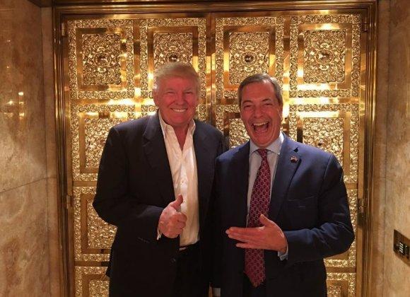 """""""Twitter"""" nuotr./Donaldas Trumpas ir Nigelas Farage'as Niujorko dangoraižyje """"Trump Tower"""""""