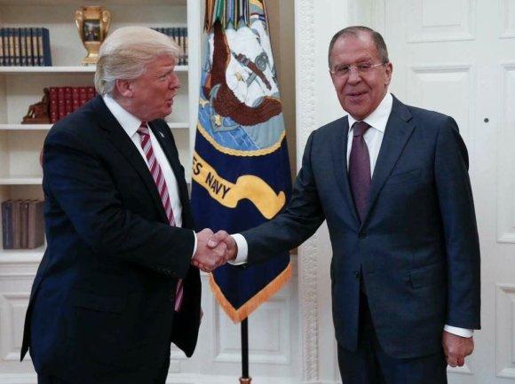 Rusijos Užsienio reikalų ministerijos nuotr./Donaldas Trumpas ir Sergejus Lavrovas