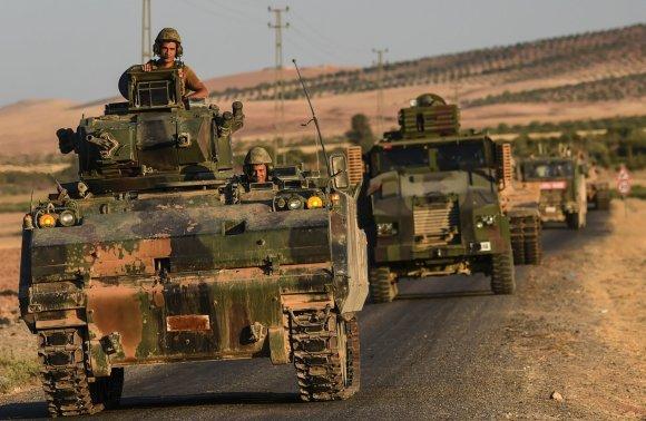 """AFP/""""Scanpix"""" nuotr./Turkijos kariai Sirijos teritorijoje"""