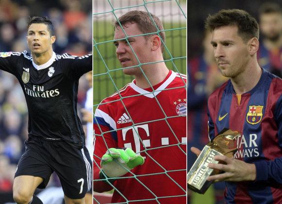 """Scanpix""/AP/AFP nuotr./Cristiano Ronaldo, Manuelis Neueris ir Lionelis Messi"
