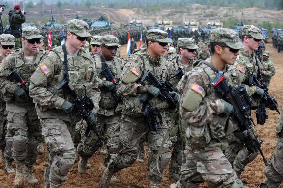 Alfredo Pliadžio nuotr./JAV kariai Pabradėje 2014 metais