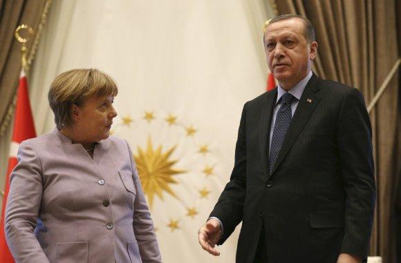 """Scanpix""/AP nuotr./Angela Merkel ir Recepas Tayyipas Erdoganas"