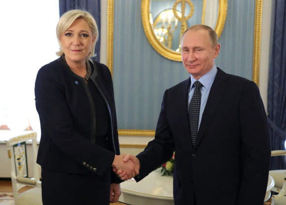 """Reuters""/""Scanpix"" nuotr./Marine Le Pen ir Vladimiras Putinas"