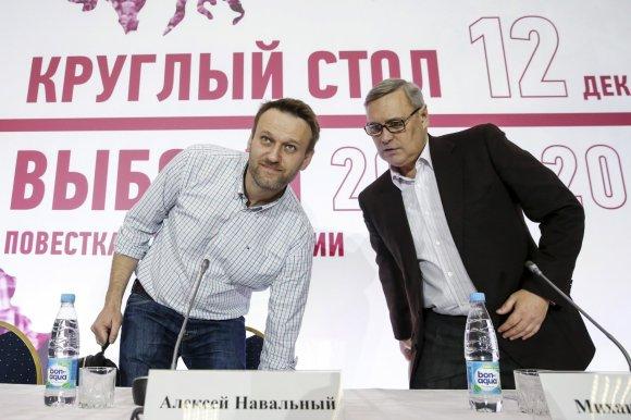 """""""Reuters""""/""""Scanpix"""" nuotr./A.Navalnas ir M.Kasjanovas"""