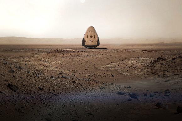 "SpaceX iliustr./""SpaceX"" kapsulė ""Red Dragon"""
