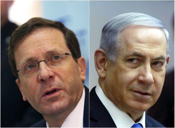 """Reuters""/""Scanpix"" nuotr./Isaacas Herzogas ir Benjaminas Netanyahu."