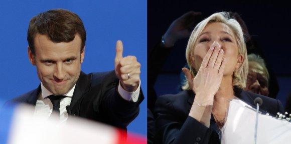 """Scanpix"" nuotr./Emmanuelis Macronas ir Marine Le Pen"