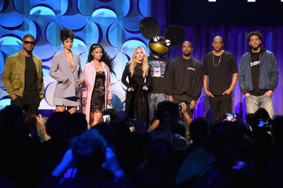 "AFP/""Scanpix"" nuotr./Usheris, Rihanna, Nicki Minaj, Madonna, Deadmau5, Kanye Westas, Jay Z ir J. Cole'as ""Tidal"" pristatyme"