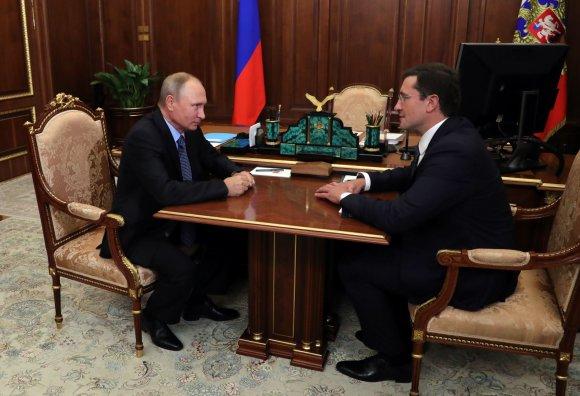 """""""Sputnik""""/""""Scanpix"""" nuotr./Vladimiras Putinas ir Glebas Nikitinas"""