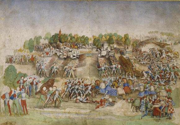 Wikipedia.org nuotr./Vokiečių landsknechtų ir šveicarų ietininkų susidūrimas Marinjano mūšyje. Nežinomo dailininko paveikslas