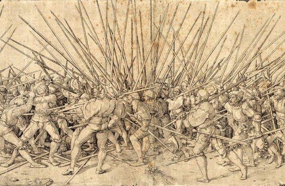 Wikipedia.org nuotr./Vokiečių landsknechtų ir šveicarų ietininkų susidūrimas. Hanso Holbeino graviūra