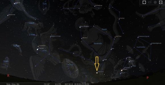 LEM iliustr./Saturnas pietrytiniame Lietuvos skliaute vasario mėn. 15 d. 6 val. ryto./Stellarium programos simuliacija
