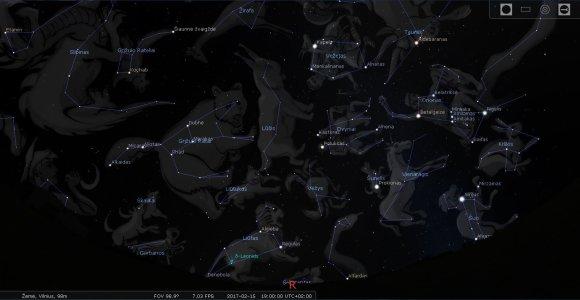 LEM iliustr./Lietuvos rytinio skliauto žvaigždynai vasario mėn. 15 d. 19 val./Stellarium programos simuliacija