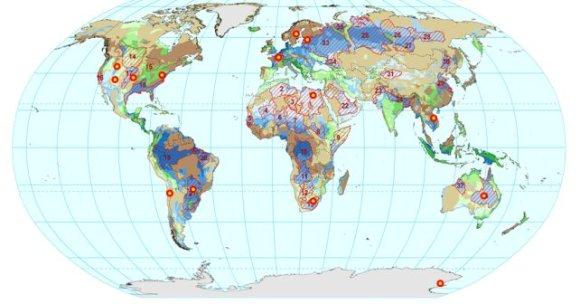 VU naujienų iliustr./ATTA metodu atliktų požeminio vandens datavimų vietų išsidėstymas per pasaulio kontinentus