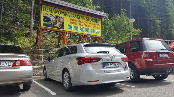 Žilvino Pekarsko / 15min nuotr./Automobilis su trispalve Slovakijos Tatruose