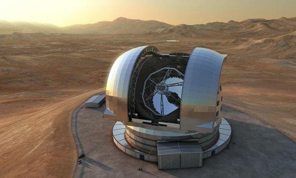 Ypatingai Didelio Europos Teleskopo (E-ELT), kuris per artimiausią dešimtmetį turėtų būti sukonstruotas Atakamos dykumoje, Čilėje, vizualizacija/ Astronomy.com