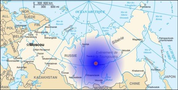 Žemėlapyje – Tunguskos įvykio vieta ir apytikslė tiesioginio poveikio zona./ Iliustracijos šaltinis: www.en.protothema.gr.