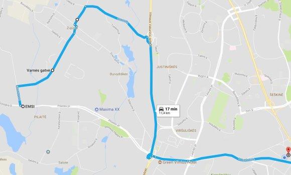 Google Maps iliustr./Žilvino maršrutas per Zujūnų g.