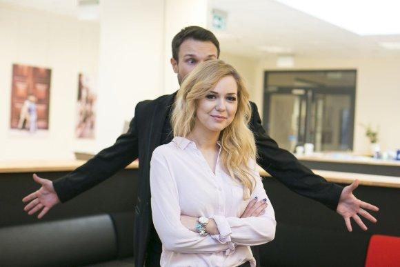 Irmanto Gelūno/15min.lt nuotr./Vaidas Baumila ir Monika Linkytė lankėsi Žmonės.lt redakcijoje