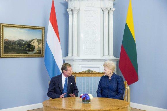 Irmanto Gelūno / 15min nuotr./Prezidentė Dalia Grybauskaitė Prezidentūroje susitiko su Liuksemburgo Didžiuoju Hercogu Henriu
