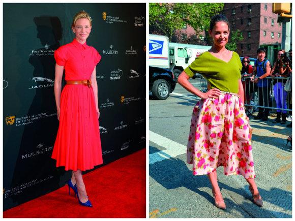 Vida Press nuotr./Aktorės Cate Blanchett ir Katie Holmes vilkinčios Michaelo Korso kurtus drabužius