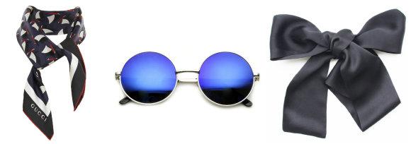 Gamintojų nuotr. /GUCCI skarelė, zeroUV akiniai nuo saulės