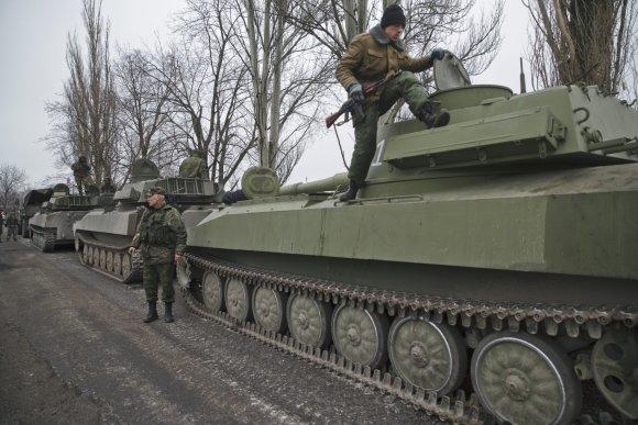 """""""Reuters""""/""""Scanpix"""" nuotr./Rusijos teroristai netoli Jelenovkos"""