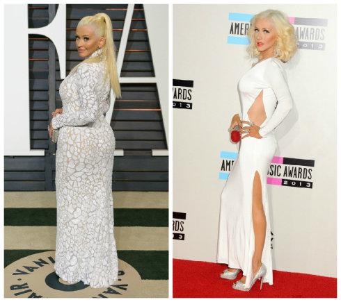 """""""Scanpix"""" nuotr./Christina Aguilera 2015-ųjų vasarį ir 2013-ųjų lapkritį"""