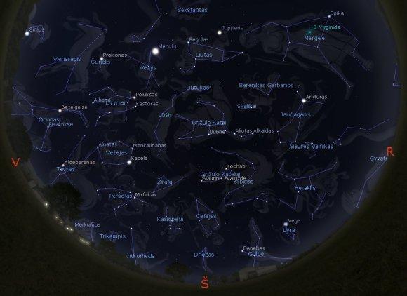 """""""Stellarium"""" simuliacija/Žvaigždynai Lietuvos danguje balandžio 15 d.22 val."""