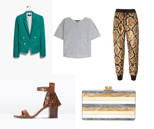 """Gamintojo nuotr./Rudos """"Zara"""" basutės su kutais, ryškiai žalias """"Mango"""" švarkas, pilkšvi """"Rag & Bone"""" marškinėliai, žvyneliais margintos """"Ashish"""" kelnės, """"Edie Parker"""" delninukė."""