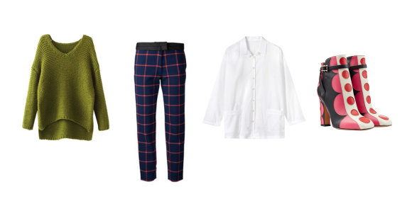 """Gamintojų nuotr./Iš kairės: samanų spalvos megztinis su V formos iškirpte, """"Chicwish"""", tamsiai mėlynos languotos """"Thakoon"""" kelnės, """"Toast"""" laisvo kirpimo balti marškiniai, """"Valentino"""" batai."""