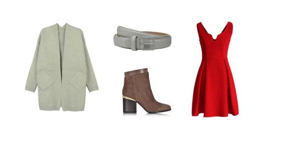 """Gamintojų nuotr./Iš kairės: pilkas """"Choies"""" megztinis su kišenėmis, """"Lacoste"""" diržas, """"Hogan"""" aulinukai su metaline detale, raudona """"Chicwish"""" suknelė."""