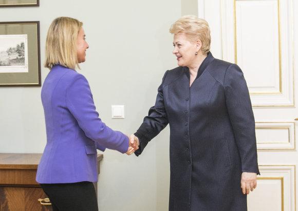 Luko Balandžio/15min.lt nuotr./Federica Mogherini ir Dalia Grybauskaitė