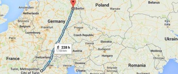 Atstumas nuo Turino iki Berlyno