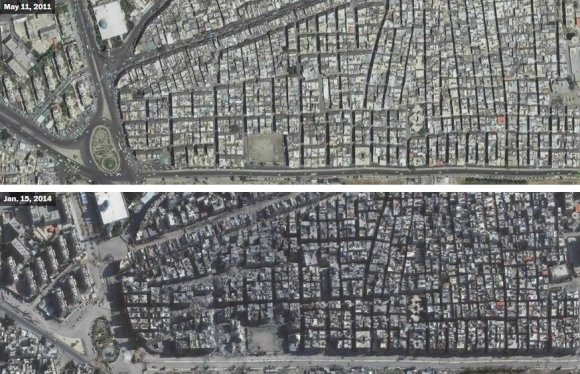 US Department of State, Humanitarian Information Unit, NextView License (DigitalGlobe) nuotr./Jarmuko stovykla Damaske