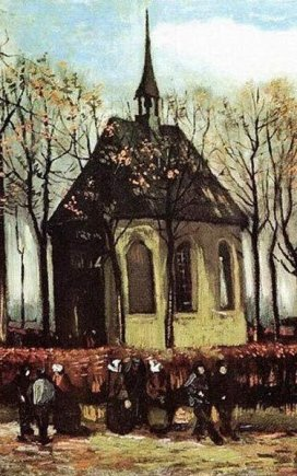 """Vincento Van Gogho""""Kongregacija, einanti iš reformatų bažnyčios Nuenene"""""""