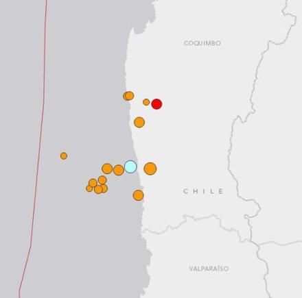 JAV geologijos centro iliustr./Žemės drebėjimo (melsva) ir požeminių smūgių vietos