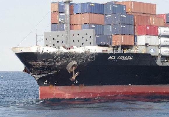"""""""Scanpix""""/AP nuotr./Susidūrė JAV minininkas ir prekinis laivas"""